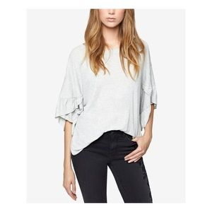 SANCTUARY Gray Ruffle-sleeve Scoop Neck Top